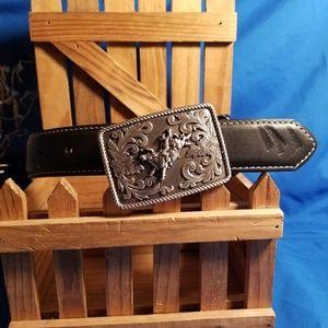 """Children's 20"""" Nocona belt, bullrider buckle"""